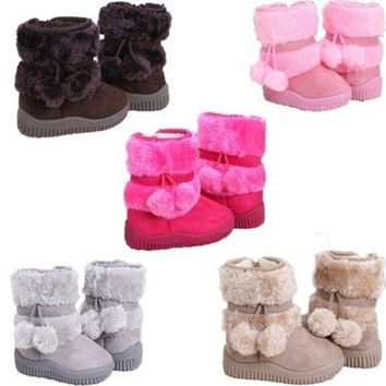 New Baby Kid Girl Toddler Infant Winter Snow Boots Keep Warm Crib Shoes Faux Fur Boots = 1932603396