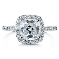 Cushion Cut Clear Cubic Zirconia 925 Sterling Silver Halo Ring 1.67 Ct #r772
