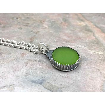 Round Green Beach Glass Sterling Silver Necklace