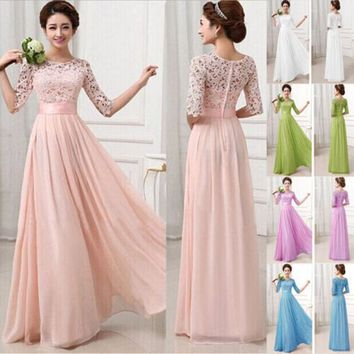New Women Long Chiffon Bridesmaid Prom Formal Party Fit And Flare Dress Ladies Summer Elegant Long Dress