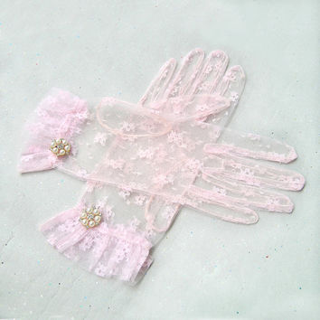 Pink Lace Gloves, Bridal Lace Gloves, Pink Gloves, Great Gatsby Accessories with Rhinestone Jewelry, Great Gatsby Fashion, Vintage style