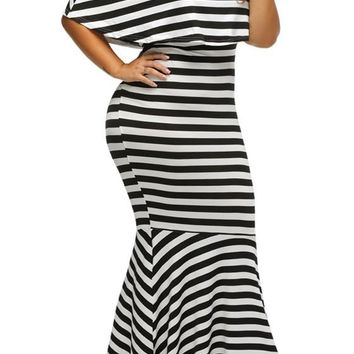 Black-White Striped Ruffle Off Shoulder spaghetti Mermaid Plus Size Maternity Maxi Dress