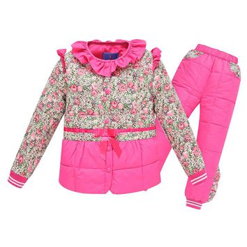 Kids Sets Winter Down Parkas Children Kids Sets Warm Thick Cotton Outwear Windbreaker Jackets Coat Tracksuits For Boys Girls Hot