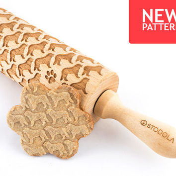 Bernese Mountain Dog - Embossed, engraved rolling pin for cookies