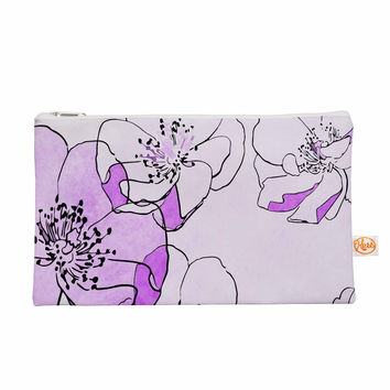 "Alison Coxon ""Painted Wild Roses Purple"" Pink Floral Everything Bag"