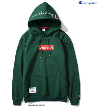 """Supreme""""Champion""Contracted hooded sweater Green"