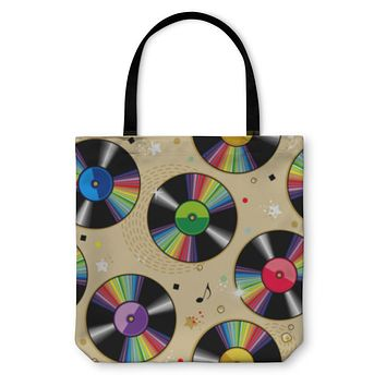 Tote Bag, Vinyl Records Pattern