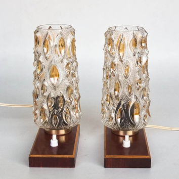 Vintage Table Lamp Pair / Wood &  Glass Desk Lamps / Bedside Lamp / 60's 70's Era Retro Lighting