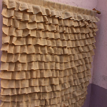 Burlap Curtain Panels Ruffled Curtain Cottage Curtain Rustic Curtain Panels EXPRESS SHiPPiNG Via UPS