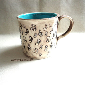 Ceramic Mug, Music Note Large Coffee Cup, Hand Built Pottery Mug, Turquoise 16 oz, hand crafted