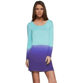 Casual Scoop Collar Long Sleeve Gradient Color Cotton Blend Midi Dress for Women