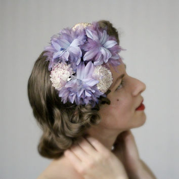 "Purple Blue Fascinator Hair Accessory, 1940s Flower Headpiece, Floral Headband, Carnation Dahlia Hair Piece - ""Once Upon a Springtime"""