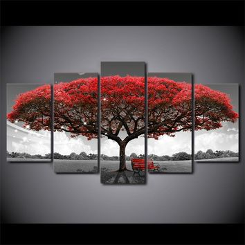 Black, Red and White tree print wall art picture on canvas