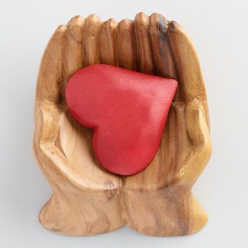 Wood Hands with Red Heart