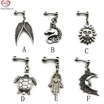 Showlove-PAIR Surgical Steel Ear Helix Cartilage Bar Piercing With Dangling Pendant Free Shipping Ear Studs Jewelry