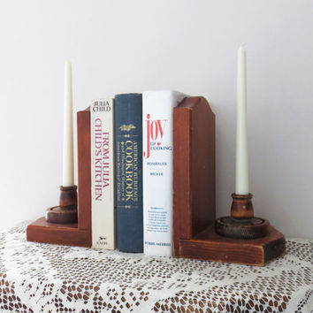 Vintage wooden bookends candle holders by Quality Woodcraft of Cape Cod Mass - Rustic candleholders bookends farmhouse decor