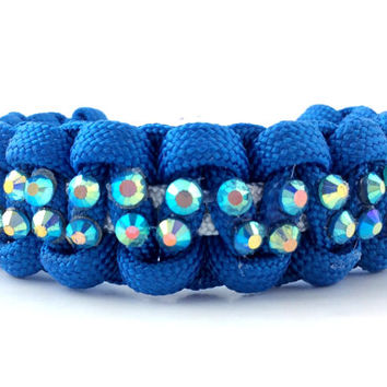 Paracord Bracelet - Blue Paracord, Turquoise Rhinestone Studs and a Pave Bead Clasp
