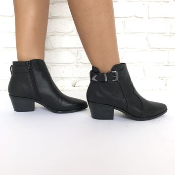 Sideways Buckle Booties In Black