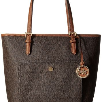 Michael Kors Jet Set Travel Brown Large Carryall Tote MK Signature Bag