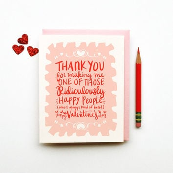 Ridiculously Happy Valentines Day Card pink red white love calligraphy hand lettering