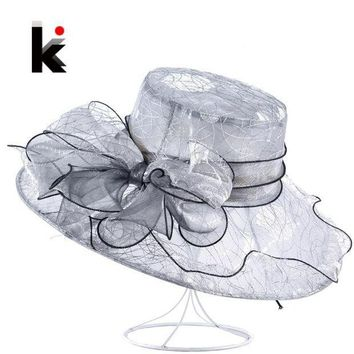 CREYONIS Womens Organza Bow-Knot Bucket Hat Wedding Party Cap For Ladies Kentucky Derby Hats Female Summer Wide Birm Sun Chapeau Feminino