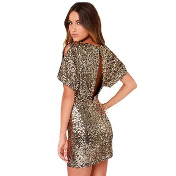 Sexy Gold Bling Sequins Backless Party Dress