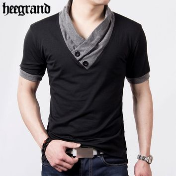 HEE GRAND 2017 Men Men T-Shirt Camisetas V-Neck Spell Color Design Hombre Tee Shirt Male T Shirts MTS1967