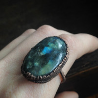 Labradorite Ring - Electroplated Copper Ring - Size 8