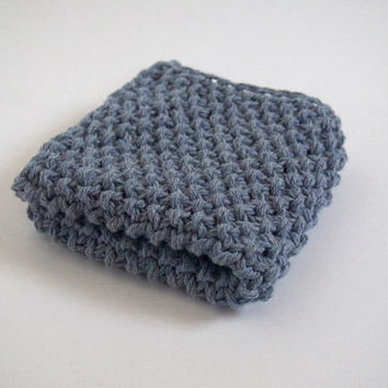 hand knit plushy cotton washcloth in stonewash faded denim blue