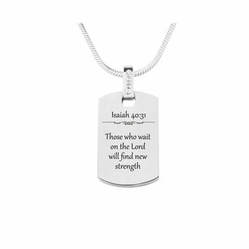 Scripture Tag Necklace with Cubic Zirconia - Isaiah 40:31