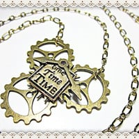 Unisex Industrial Necklace~Steam Punk Necklace~Steam Punk Necklace With Gears And Time Charm~Clock Hands~Statement Necklace