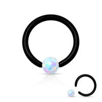 Fire Opal White Captive Hoop Black Cartilage Daith 16ga Tragus Body Jewelry Helix Piercing Jewelry 316L Surgical Steel