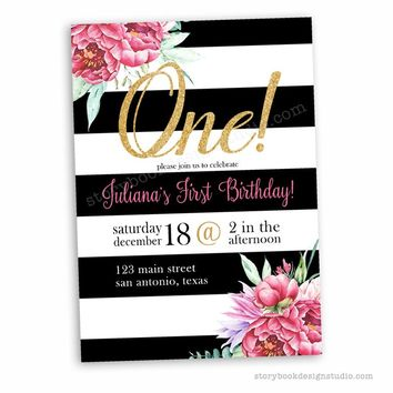 Black White Gold and Floral First Birthday Party Invitations