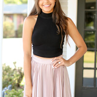 High Neck Crop Top - Black