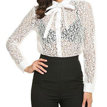 Unibelle Women Sexy Long Sleeve Hollow Lace Button Down See Through Shirt Blouse Tops Shirt