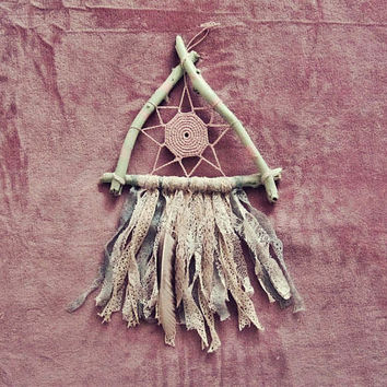 Modern Wall Decor - Triangle Dreamcatcher - Boho Wall Hanging - Pastel Lace Dream Catcher - Gypsy Bedroom - Bohemian Nursery - in Stock