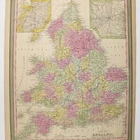 England Map United Kingdom Britain Map 1852 Mitchell Cowperthwait Map of England Wales, Authentic Antique Map, Original Handcolor Map