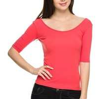 Casual Half Sleeve Scoop Neck & Low Back Sexy Solid Plain Basic Shirt Top
