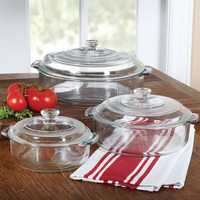 6 Piece Round Glass Casserole Cookware Bakeware Set with Lids