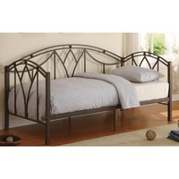 Transitional Matte Brown Metal Twin Day Bed with 15 Slats