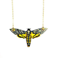 Wood Lasercut Moth Necklace on Gold or Silver plated Chain | Nature Jewellery by Aubergine Fox - Moth Jewelry, Moth Jewellery, Moth Necklace