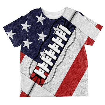 4th of July American Flag Patriot Football All Over Toddler T Shirt