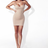 Nude Honey Cord Strapped Dress