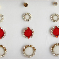 28 Red And White Face Jewels ,White Round Bindi,Velvet Colorful Bindi,Wedding Round Face Jewel Bindi,Bollywood Bindis,Self Adhesive Stickers