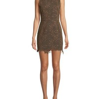T by Alexander Wang Frayed Leopard-Print Sleeveless Mini Dress