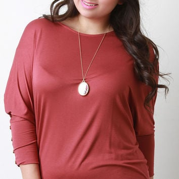 Round Neck Button Accent Dolman Sleeves Top