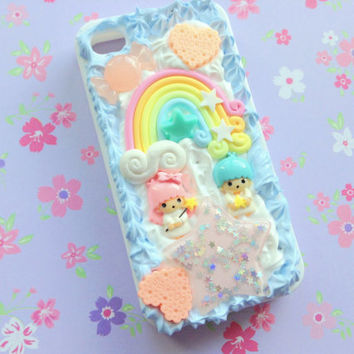 Kawaii little twin stars rainbow stars - Anime decoden phone case for iphone 4/4s - Fairy kei - pastel goth - sweet lolita