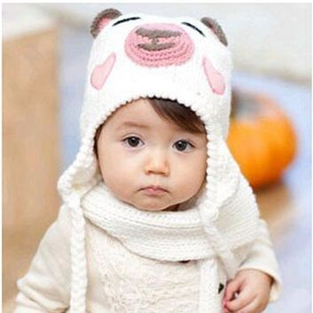 Cute Cartoon bear children's hat Girls Boys Baby Kids Crochet Knitted Beanies Caps Hats baby ear muff hat BH48