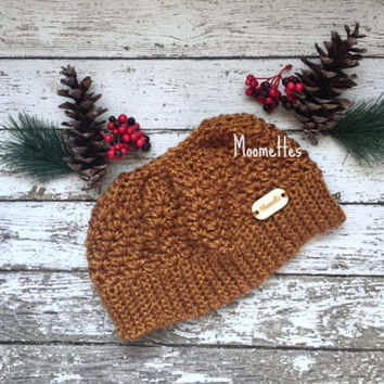 Crochet Handmade Messy Bun Beanie Gold Maize Yellow Chunky Ponytail Hat Wood Button