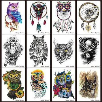 12pcs/lot Temporary Tattoo set Large Black Owl dream catcher tattoos Stickers Waterpoof Body Art On Arm Animal dreamcatcher 2017